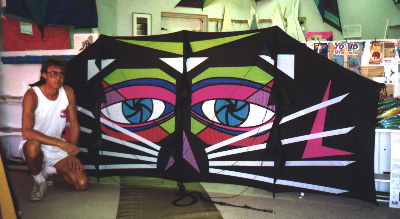A genki kite with an interesting cat like design approx. 12ft across