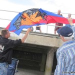 John Barresi checks out one of Olver Reymond's kites...