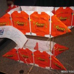 Silent auction, one of the snack wrapper kites...