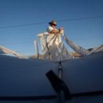 Bazzer Poulter assembles his Comet kite...