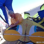 Ron Gibian packing in one of his kites...