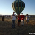 Rev fliers in front of a balloon at Antelope Island...