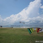 Setting up for team flying practice at D1, East Coast Park...