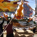 Raising the kites, Festival Day Sumpango.