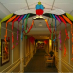 The halls at Newbury Court had colorful kites to start the new program.