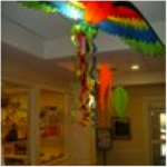 Kites made a colorful presence at Newbury Court.
