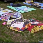 A gaggle of rokkaku and shikaku (rectangular) kites