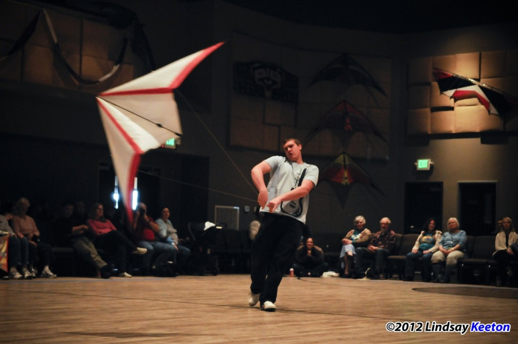Toby Arndt in indoor kite competition