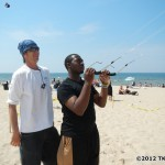 John Barresi giving a kite lesson on the Rev field