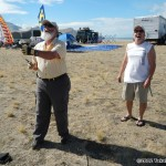 Master kitemaker John Pollock shows off some stunt kite skills with Andy Wilson