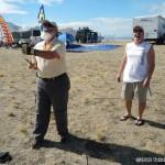 Master kitemaker John Pollock shows off some stunt kite skills with Andy Wilson