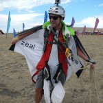 Paraglider sporting a flying squirrel suit
