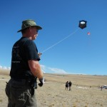 Rod Thrall flies one of his handcrafted kites