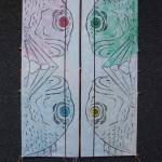 2 - full size kites, all with woodblock print, by Yoshizumi-san