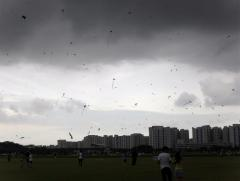Evening skies with dark clouds looming over Sengkang Field..
