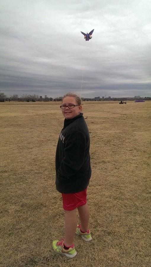 Aubrey flying her kite