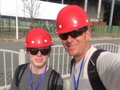Hard hats during construction, men at work!