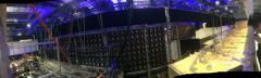Behind the stage, lots of electronics.